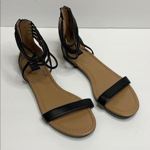 WHBM Opaline black rhinestone detail sandals